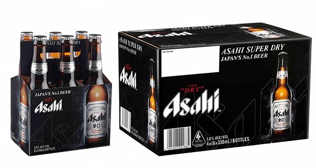 Balení japonských piv Asahi Super Dry. Zdroj: drinks bulletin.com