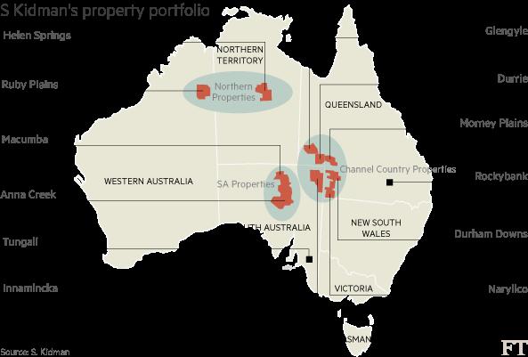 Schéma: Přehled největších pozemků na světě v soukromých rukou v Austrálii, které vlastnila rodina Sidneyho Kidmana. Zdroj: clien.net