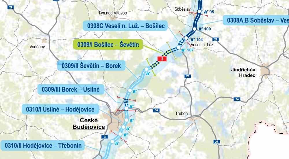 Schématická mapa, v níž je naznačeno, kde se nyní D3 staví. Zdroj: MD ČR