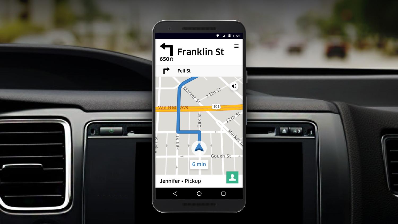 Aplikace Uberu ukazující řidiči, kam má jet. Zdroj: uber.com